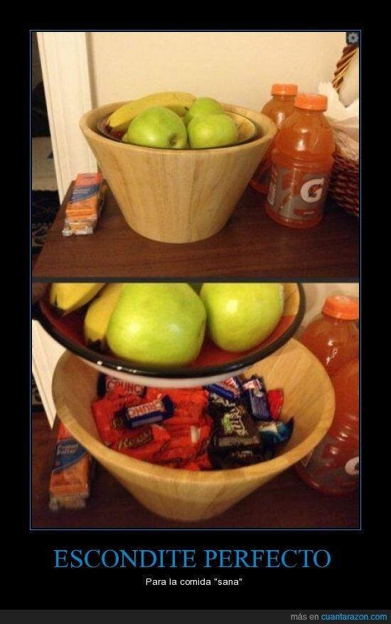 chocolatinas,chuches,crunch,debajo,esconder,fruta,frutero