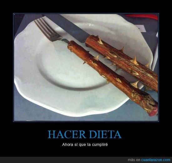 comida,cubierno,cuchillo,pincho,rama,tenedor,tronco,zarza