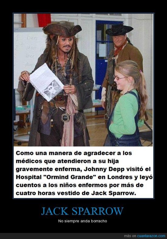 agradecimiento,hija,hospital,Jack Sparrow,Johnny Deep,leer,medico,niños,salvar