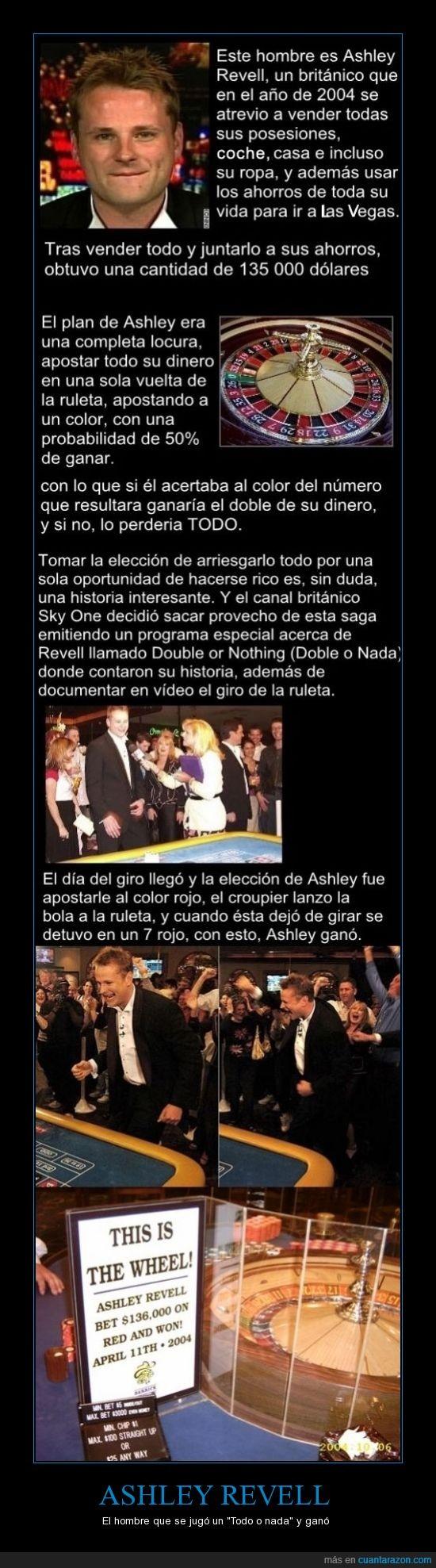 ahorros de toda la vida,apuesta,Ashley Revell,completa locura,doble o nada,el vídeo está en you tube,ruleta,suerte