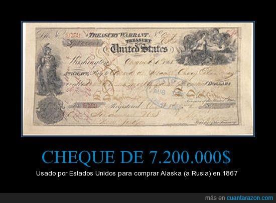 1867,alaska,cheque,compra,EEUU,rusia,usd