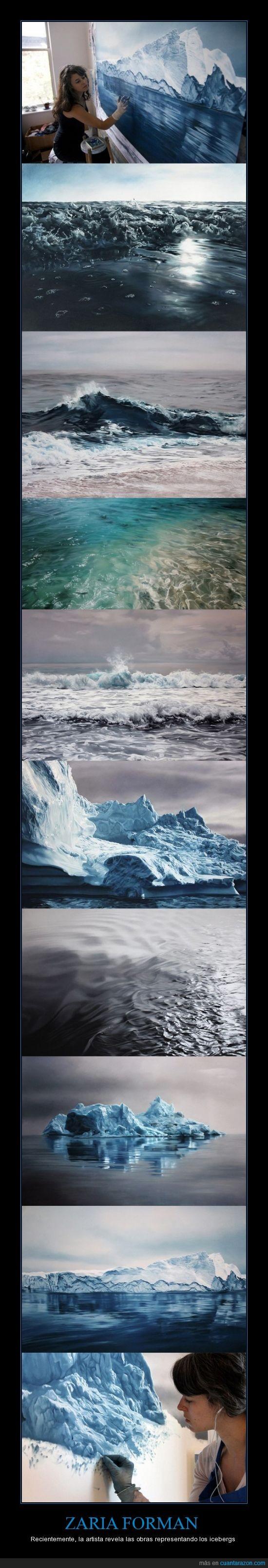 arte,artista,azul,color,dibujo,hielo,iceberg,ilustracion,Zaria Forman