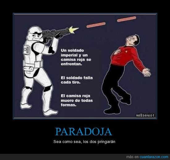 camisa roja,preguntenle al Doc Brown,star trek,star wars,stormtrooper
