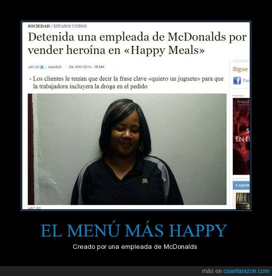 droga,happy meal,heroína,McDonalds,traficar
