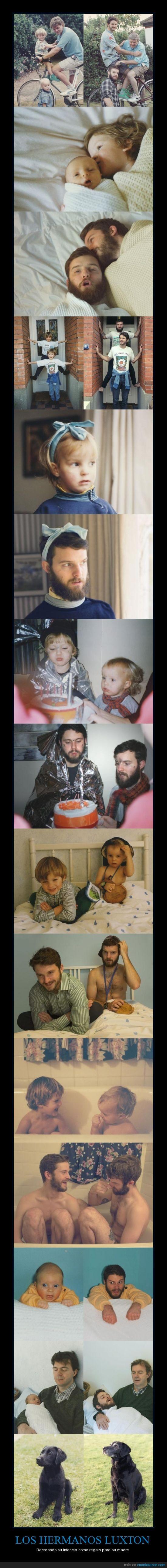 antes y despues,bonito,fotos,hermanos,infancia,luxton