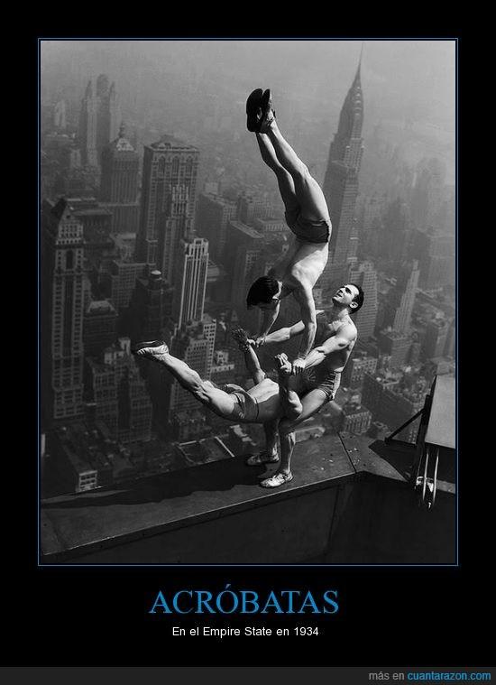 Acróbatas,arriba,confianza,Empire State,vertigo,vintage