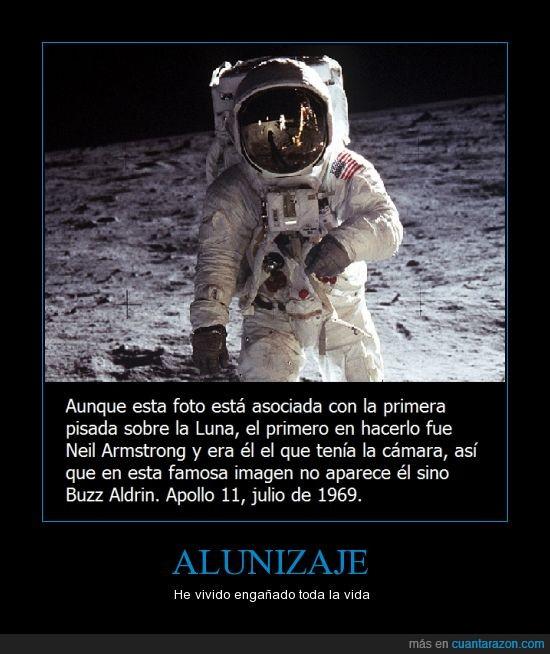 Buzz Aldrin,los libros me mintieron,Mentira,Neil Armstrong,Sí se ve Neil en el reflejo del casco de Aldrin