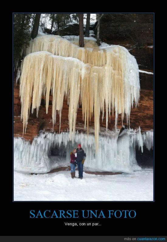 carambano,debajo,frio,hielo,nieve,pareja