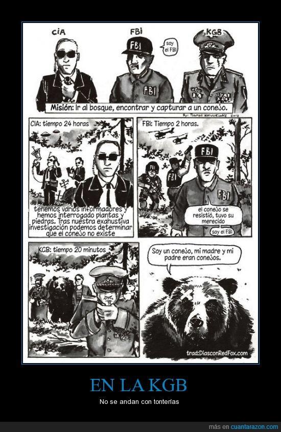 bosque,cada uno tiene su método,CIA,FBI,KGB,mentira,oso,torturar