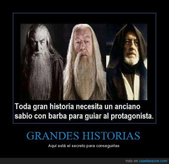 dumbledore,gandalf,grande,harry potter,Historia,lider,mentor,obi wan,sabio