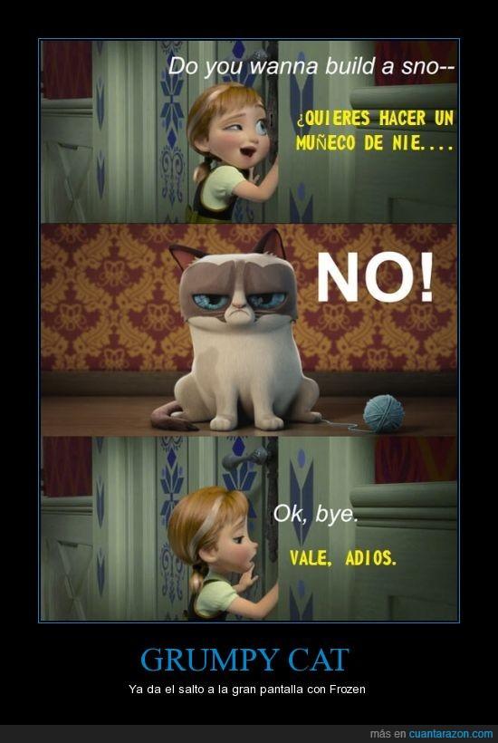 cantar,frozen,grumpy cat,muñeco de nieve,NO
