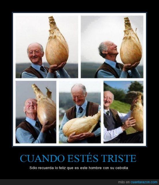 cebolla,cebolla gigante,Feliz,hombre,recordar,triste