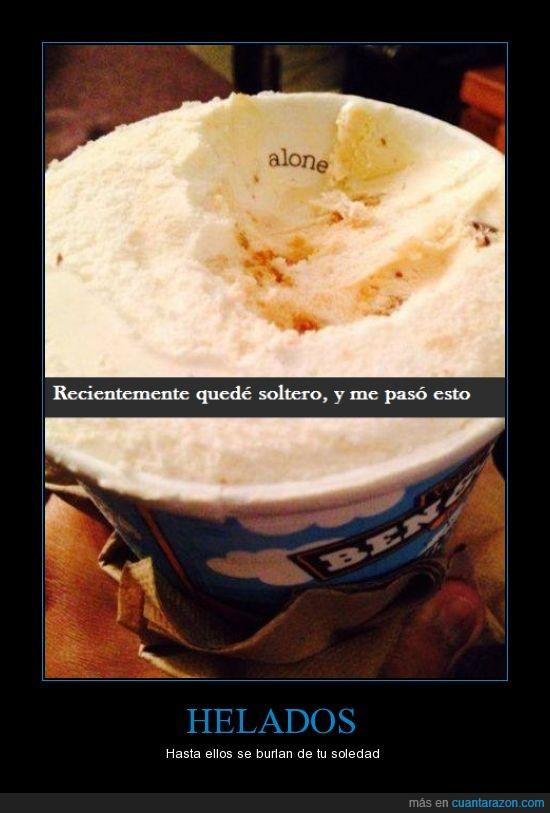 alone,ben & jerry's,burlar,comer,helado,soledad,sólo,soltero,tarrina