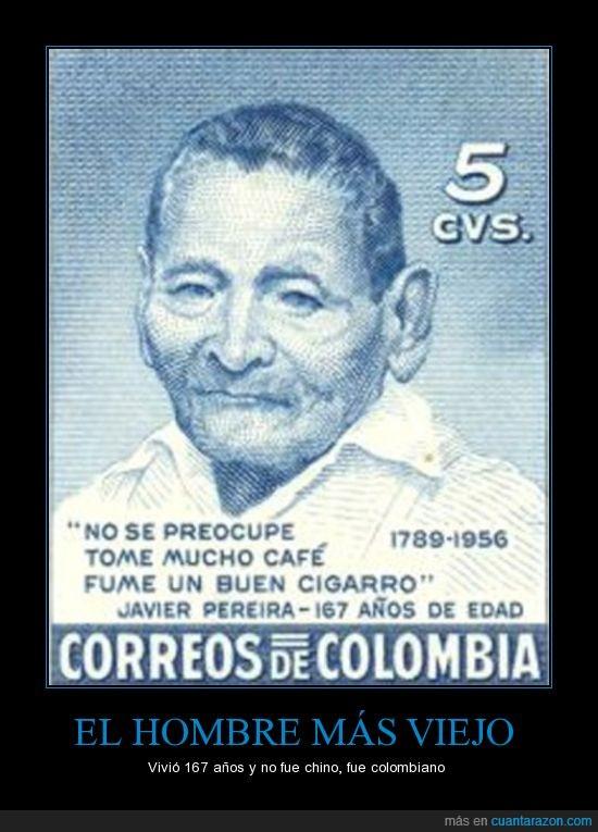 167 años,1789,1956,Colombia,el mas viejo,estampilla,javier pereira,longevo,mundo,viejo,vivir mucho
