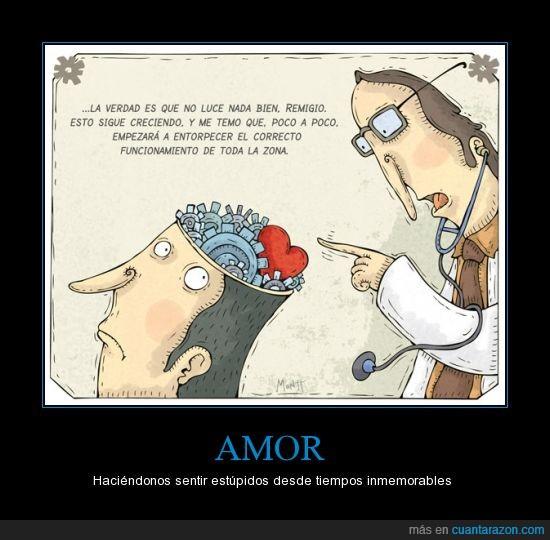 amor,cerebro,doctor,enamorado,engranaje,estúpidos,pensamiento,pensar
