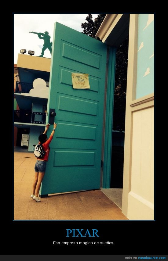 ilusion,lo siento nunca estaras alli,parque tematico pixar,puerta,Toystory