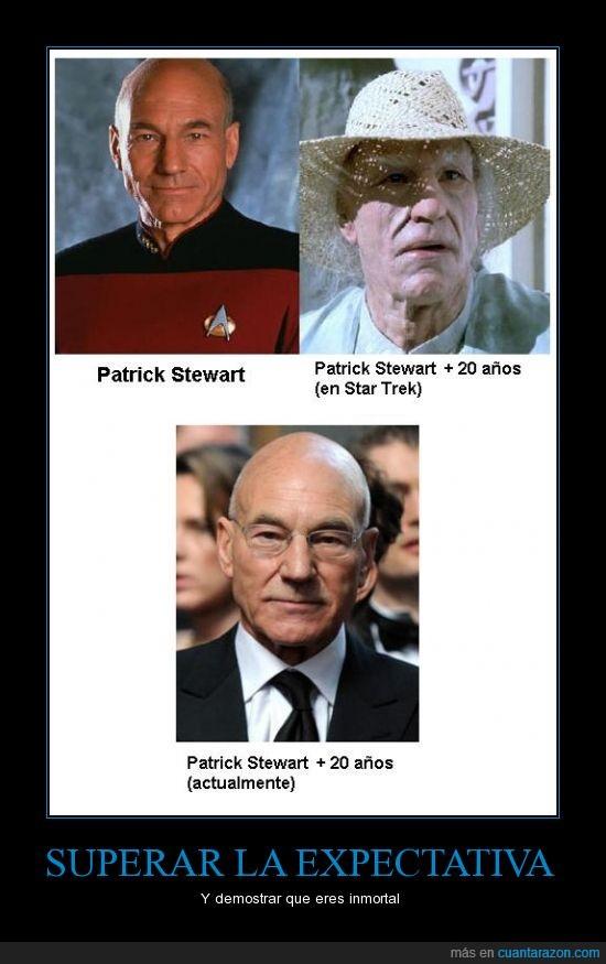 envejecer,espectativa,inmortal,patrick stewart,star trek,superar