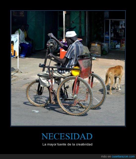 bicicleta,cadena,ejemplo,inteligente,mayor de edad,pobreza,tetrapléjico