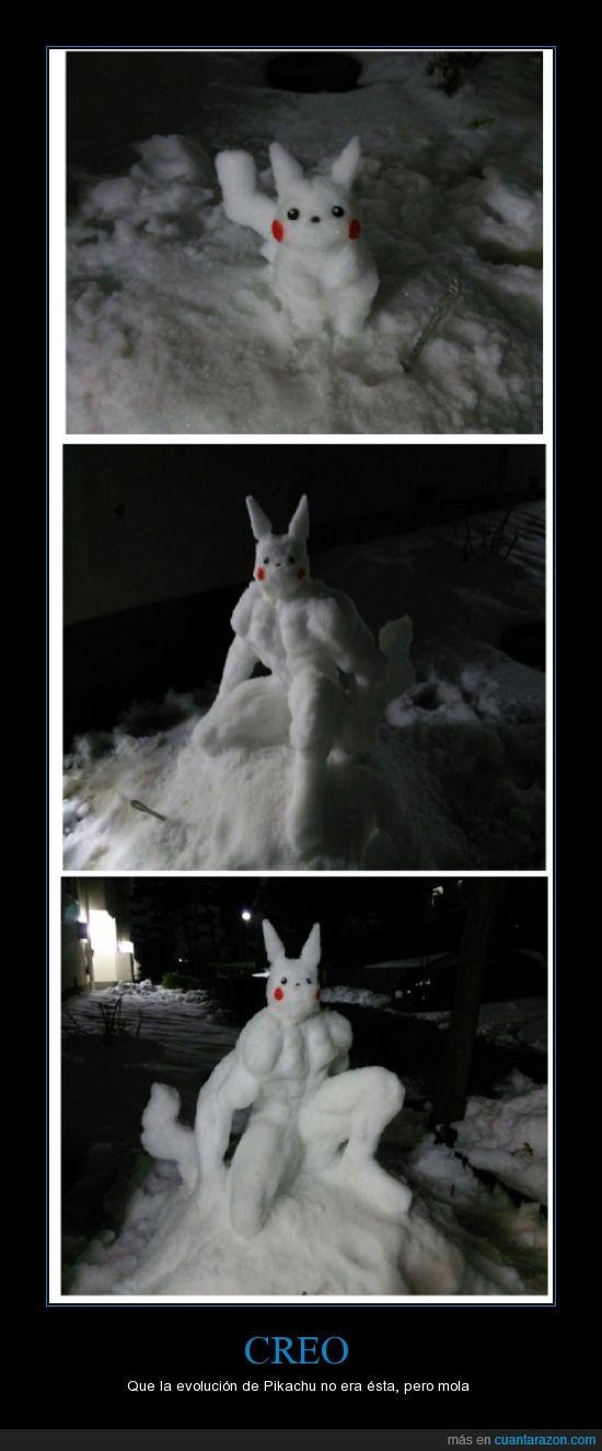 cuerpo,evolucion,fuerte,humano,nieve,pikachu,pokemon