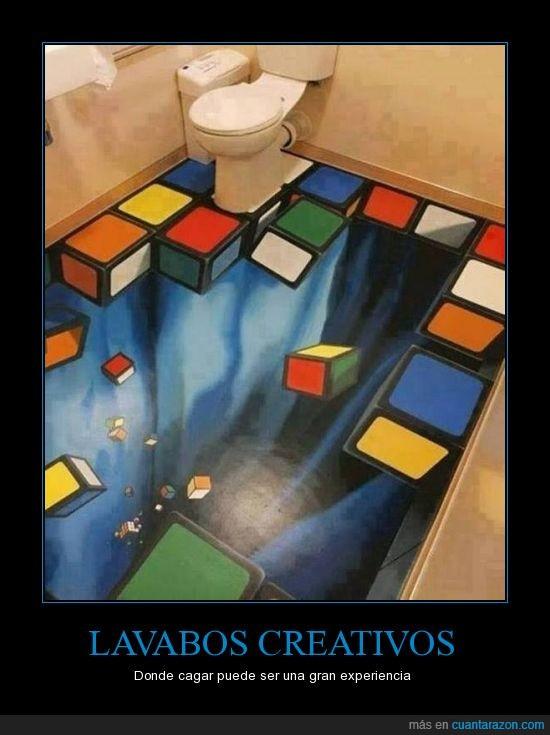 3d,arte,caer,creativos,cubos,dibujo,experiencia,lavabo,pozo,Sanitarios,suelo,vacio