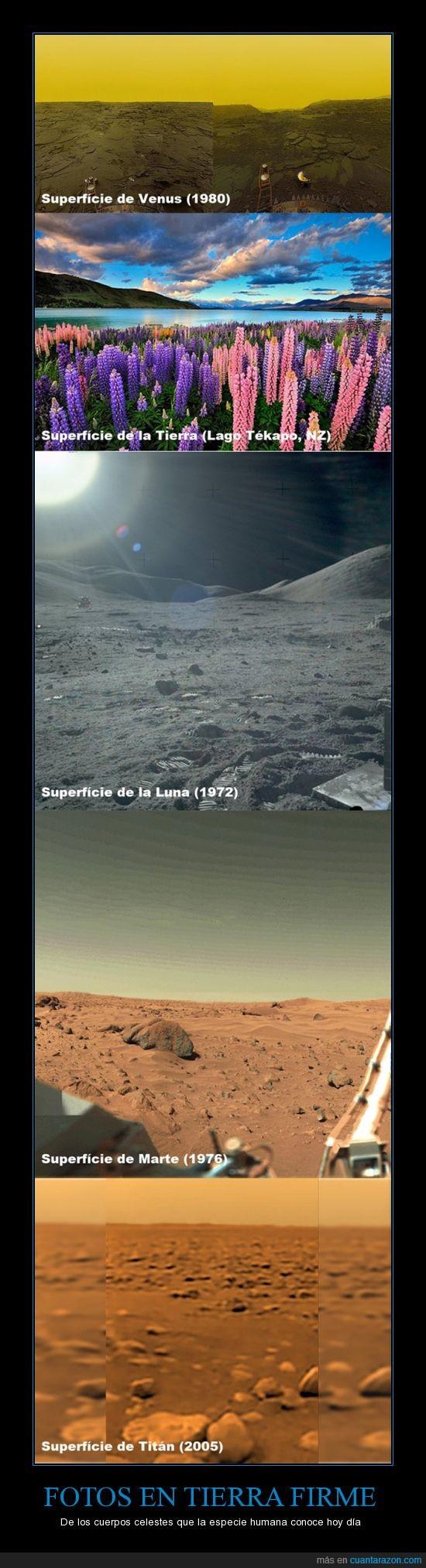 Fotografías,Luna,Marte,Paisajes,Planetas,Satélites,Superfícies,Tierra,Tierra firme,Titán,Venus