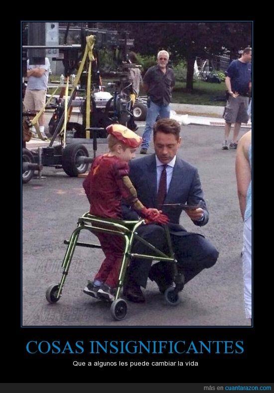 autografo,cambiar,indignificante,Ironman,niño en andadera,robert downey jr,sueño,vida
