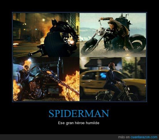 batman,cutre,heroe,lobezno,moto,motorista fantasma,pequeña,spiderman,wolverine