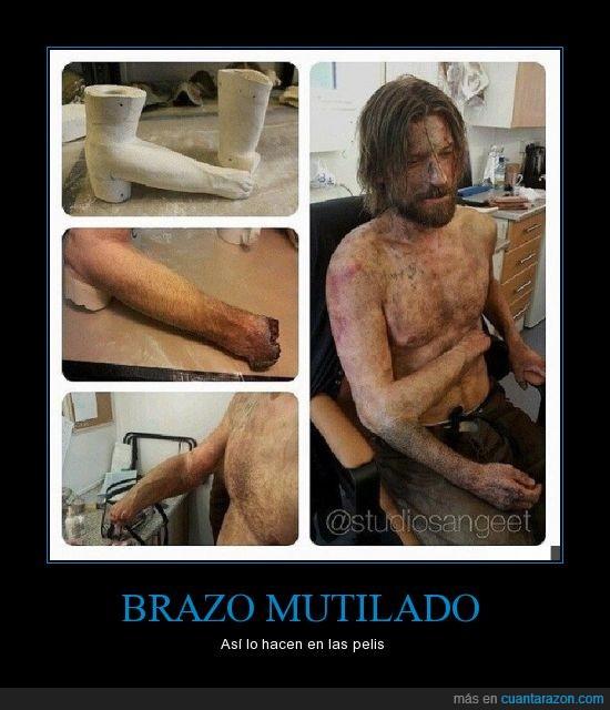 brazo,cortado,jaime lannister,mano,matarreyes,molde,mutilado,protesis,truco