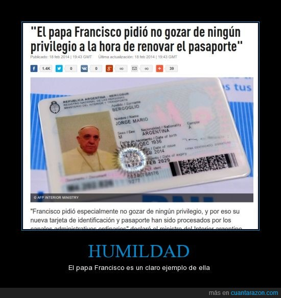 bergoglio,papa francisco,pasaporte,privilegio,renovar
