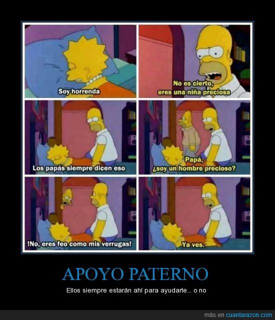 animar,Apoyo,ayudar,feo,hermoso,Homer,Homero,Lisa,padre,verruga