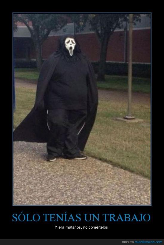 comer,disfraz,gordo,pelicula,pensó que el negro adelgazaba pero no,scream,victima,wazzuppp!!