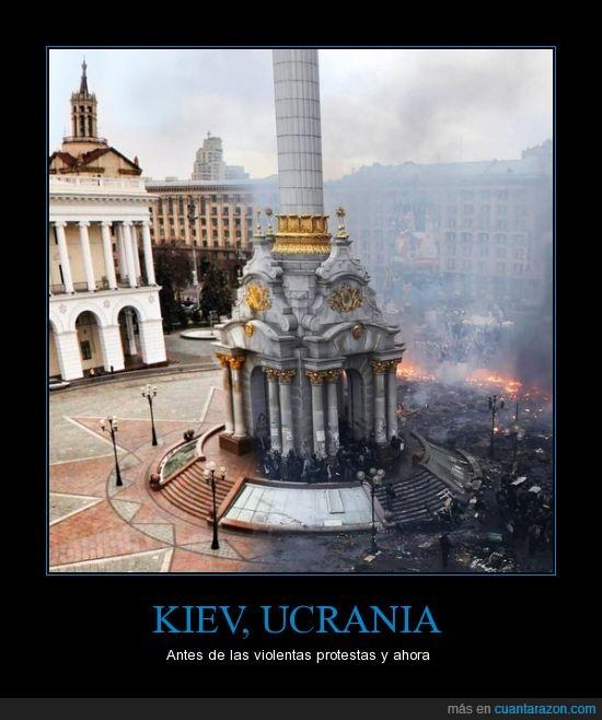 ciudad,destruccion,kiev,plaza,protestas,ucrania