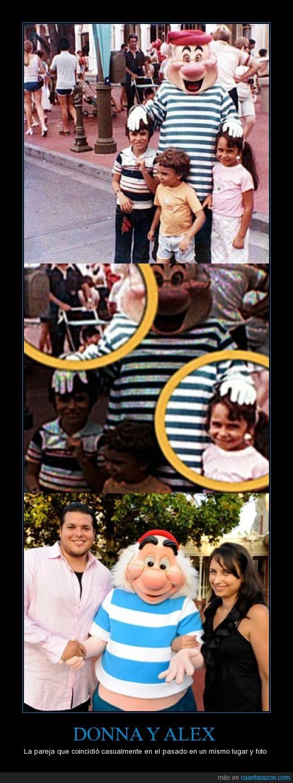 1980,1995,2002,2010,Casualidad,Coincidencia,Disneyworld,Donna y Alex Voutsinas,EEUU,Fotografía,Mr Smee,Niños,Pareja,Peter Pan