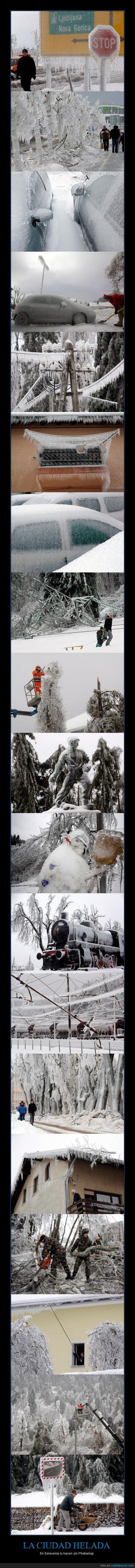 Ciudad helada,Eslovenia,Frío,Hielo,Invierno,Nieve,Photoshop
