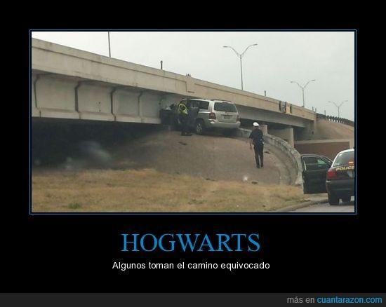 accidente,carretera,coche,harry potter,tope