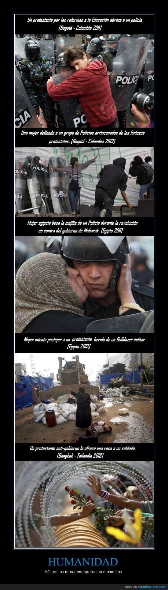 ayudar,humanidad,manifestante,paz,policia,protesta,rosa,salvar