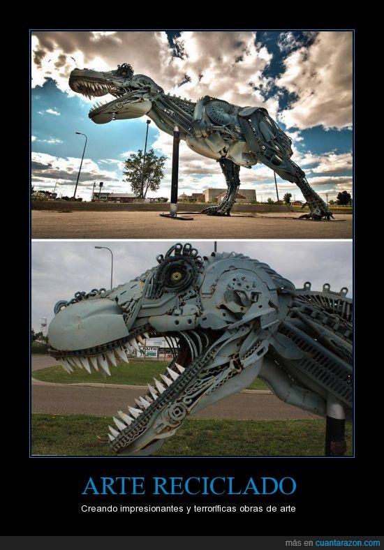 arte,dinosaurio,reciclado,steampunk,t-rex,tiranosaurio,trex