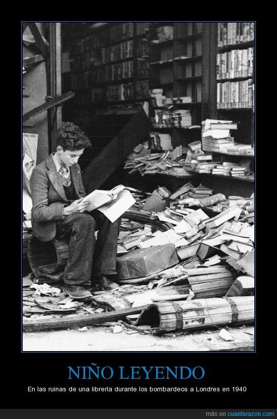 Hitler,II Guerra Mundial,Leer,libro,Londres,niño,ruinas