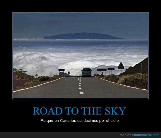 altitud,Canarias,Carretera,cielo,islas,nubes