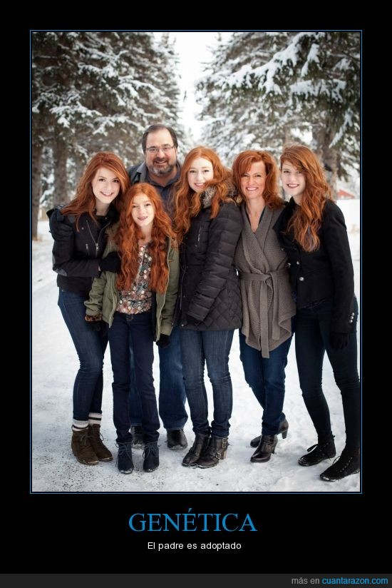 hijas,madre,padre,pelirroja,redhead