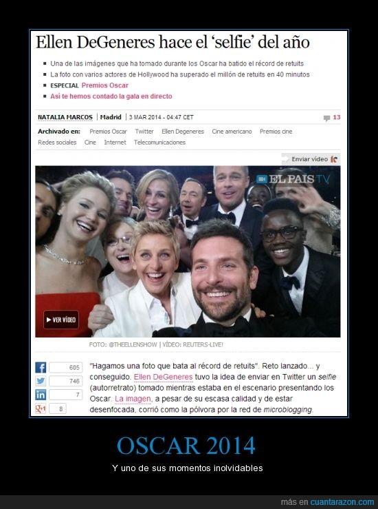 Angelina Jolie,Brad Pitt,Bradley Cooper,Ellen DeGeneres,Ellen también encargó pizza en los Oscars,Jared Leto,Jennifer Lawrence,Julia Roberts,Kevin Spacey,Lupina Nyong'o,Meryl Streep,selfie.