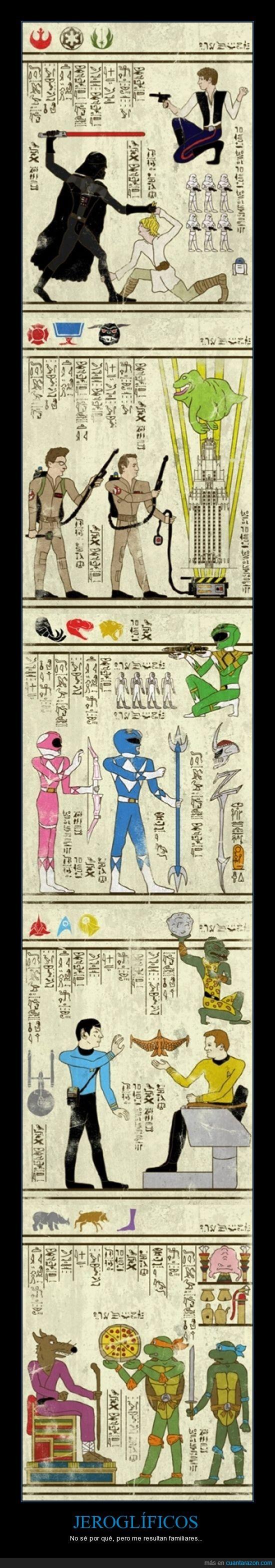 cazafanasmas,egipto,jeroglifico,pelicula,power rangers,star trek,star wars
