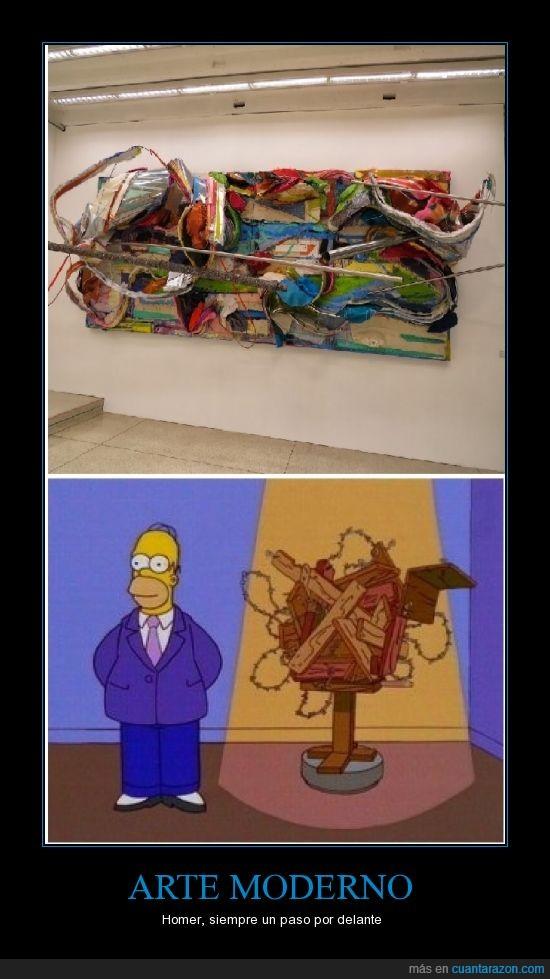 arte moderno,casa,cuadro,homer simpson,nido