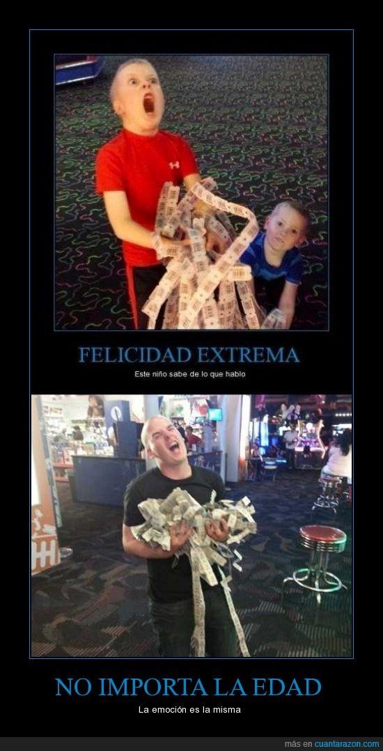 casino,emosion,extrema,felicidad,felicidad extrema,fichas,joven,juegos,niño,ticket,videojuegos