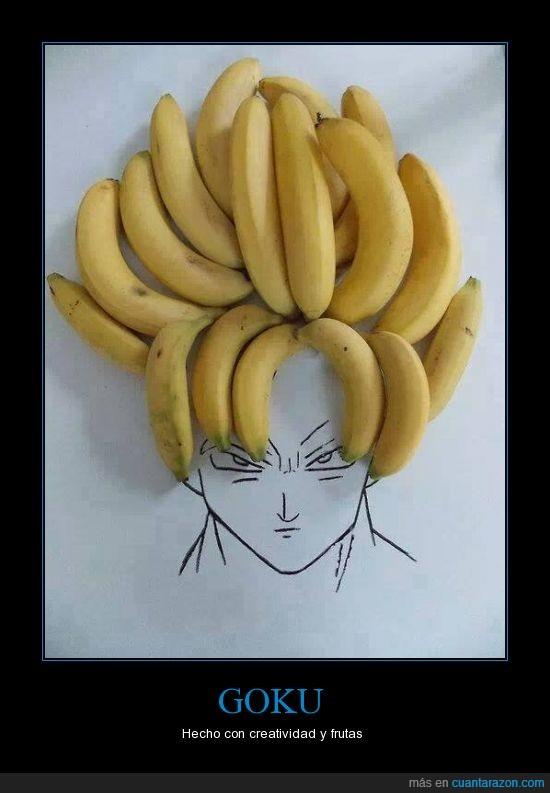 bananas,creatividad,frutas,Goku,pelo,platano,saiyayin