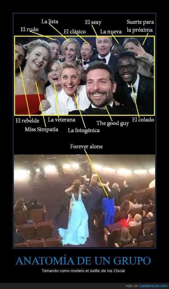 amistad,Angelina Jolie,Bradley Cooper,Bratt Pitt,Channing Tatum,el hermano de Lupita Nyong'o la hizo,Ellen DeGeneres,estereotipos,famosos,forever alone,grupo,Hollywood,Jared Leto,Jennifer Lawrence,Jesucristo está en todas partes,Julia Roberts,Kevin Spacey,Liza Minelli,Lupita Nyong'o,Meryl Streep,Oscar,paint,personas,popularidad,selfie,sonrisas