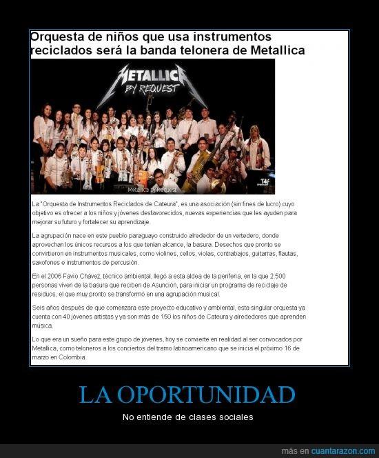 instrumentos,Metallica,música,oportunidad,orquesta,Paraguay,reciclado,reciclaje