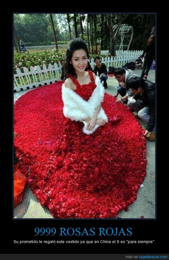 China,matrimonio,mujer,novia,pétalos,promesa,rosas,vestido