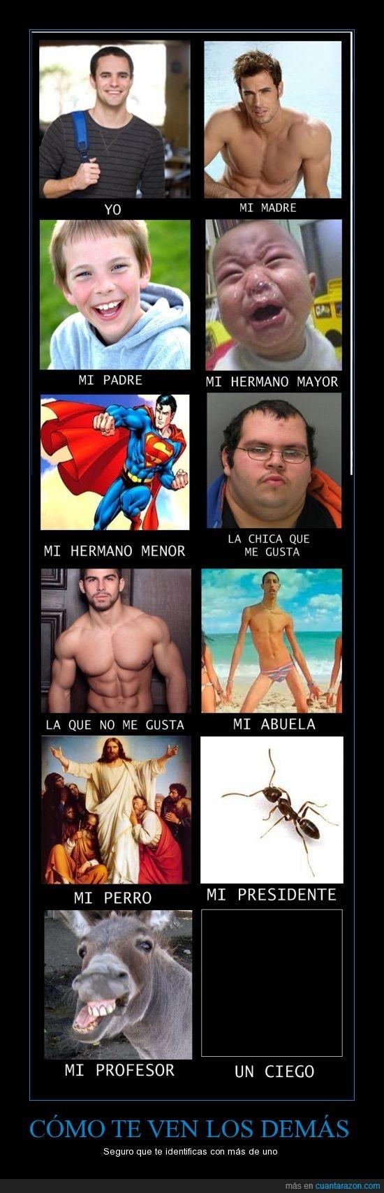 burro,cómo me ven,dios,feo,gordo,guapo,hermano,madre,padre,profesor