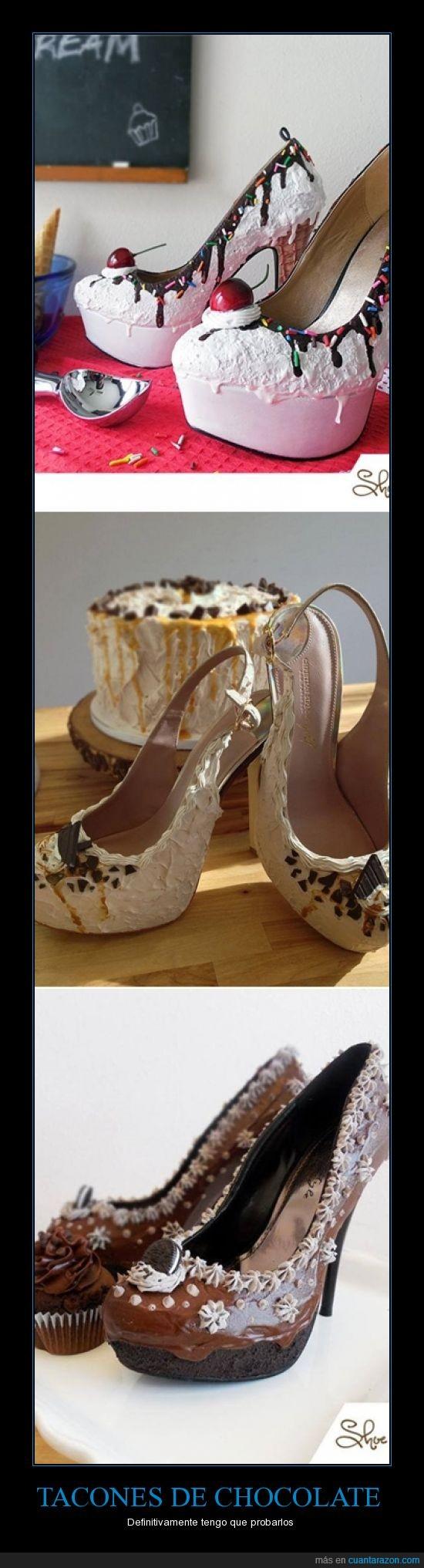 chocolate,comer,pastel,tacones,zapatos